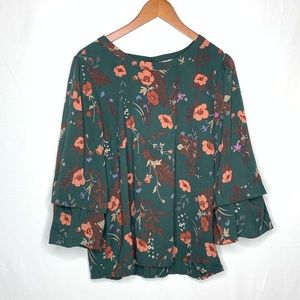 Skies are Blue | Floral Green Bubble Sleeve Sz L